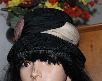 Gorgeous Black Hat with Fabric Decoration, Great Price, Shapely, Hat, Decorating Fabric Includes Colors Beige, Black, and Light Brown
