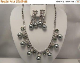 20% Off Sale Vintage Grey Pearl & Rhinestone Demi Necklace, Earring Set