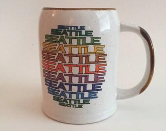Vintage Seattle Stoneware Souvenir Mug Coffee Cup
