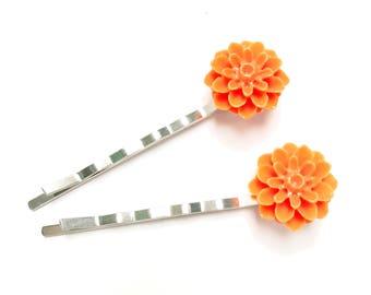 Orange Dahlia Bobby Pins - Orange Flower Bobby Pins - Orange Accessories - Orange Wedding - Gifts Under 5 - Hair Pins For Updo