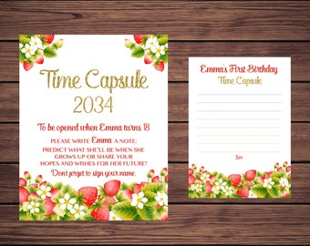 Strawberry Time Capsule Sign and Card, First Birthday Time Capsule, Baby's Time Capsule Strawberries Gold PDF Printable