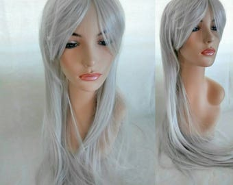 Long straight silver gray hair wig