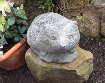 "Stone garden hedgehog approx 10"" wildlife nature"