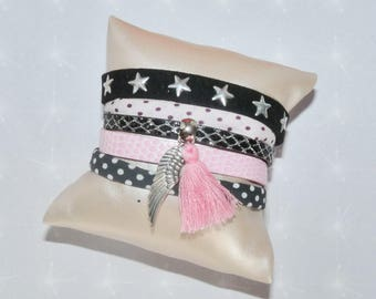 Cuff black/pink glitter nail Rhinestones, Pompom, Ribbon liberty wing charm polka dots