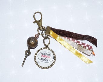 Jewelry bag/key ribbons, beads colors gold/Brown/bronze MOM that rocks