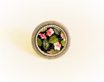 Ring bronze cabochon adjustable spirit black and pink flower pattern Japanese
