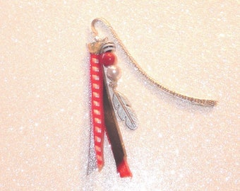 Bookmark red/black/silver tone with pearls, feather and ribbons
