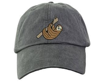 Sloth Embroidered  Baseball Hat. Cool Mesh Lining & Adjustable Strap. 33 Colors Avail. HER-LP101