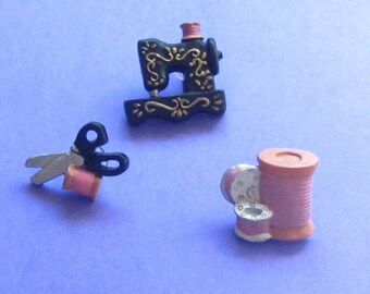 Set Of Three Sewing Theme Realistic Buttons--Sewing Machine, Scissors, Thread, Bobbins