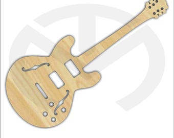 Unfinished Wood Laser Cut Electric or Bass Guitar, Ready to Paint, Music Room Decor, Various Sizes