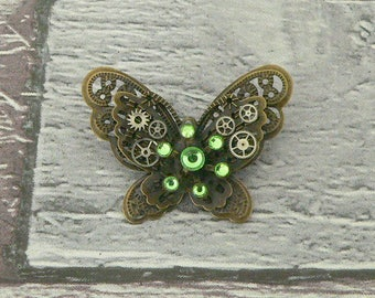 Green Steampunk Butterfly Brooch, Steampunk Brooch, Steampunk Pin, Butterfly Pin, Butterfly Jewellery, Steampunk Jewellery