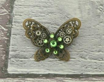 Green Steampunk Butterfly Brooch, Steampunk Brooch, Steampunk Pin, Butterfly Pin, Butterfly Jewellery, Steampunk Jewellery