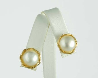 Impressive 12mm. South Sea Cultured Button Pearl 14kt Yellow Gold Stud Earrings