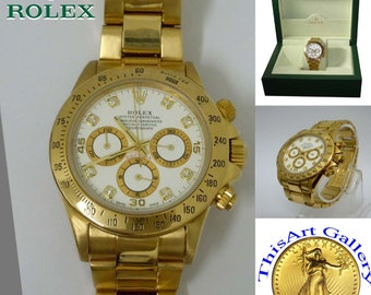 Mens 18k Yellow Gold Rolex 16528 Daytona Cosmograph White Factory Diamond Dial with Box U Series