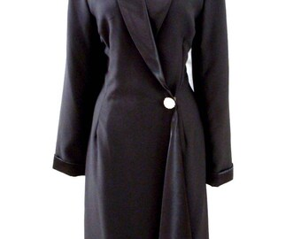 90s Black Crepe Wrap Dress with Satin Collar - Vintage 1990s Black Crepe Long Sleeve Dress with Rhinestone Button - Size Medium  to Large