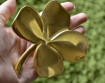 four leaf clover, good luck charm, faith, hope, love, gold clover, gold paper weight, Irish charm, good luck symbol,brass paper weight