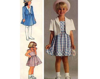 Girl's Sundress and Unlined Bolero Jacket Sewing Pattern Toddler Size 3, 4, 5 Vintage Easy to Sew Uncut Simplicity 6815