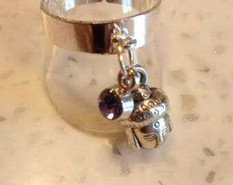 Silver and adjustable ring with charms N13