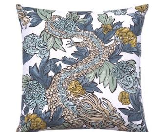 SALE Designer Decorative Pillow Cover, Ming Dragon, Accent Pillow, Asian Throw Pillow, Toss Pillow, Sofa Pillow, Pillow Cover, Double Sided