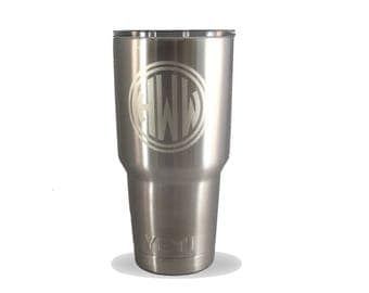 Personalized 30 oz YETI Travel Mug with New MagSlider Lid and Custom Monogram in Pearl Laser Marking is Permanent - NOT a Sticker or Decal