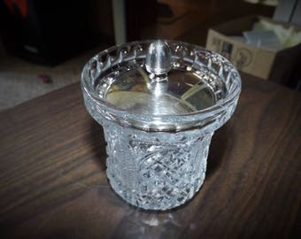 English Pressed Glass Honey Dish With Silver Plated Lid
