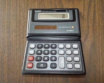 Vintage Calculator, Solar Calculator, Casio, Pocket Calculator, Vintage Electronics, Adding Machine, calculator case, Electronic Calculator
