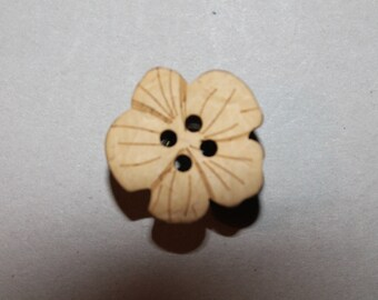 button, clover, flower, beige, four holes