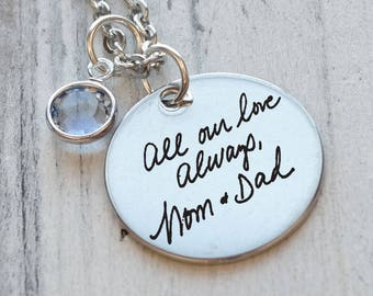 Actual Handwriting Personalized Engraved Necklace