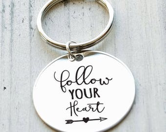 Follow Your Heart Personalized Engraved Key Chain Gift