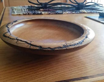 "10"" Cedar Fruit Bowl with electrical etching"