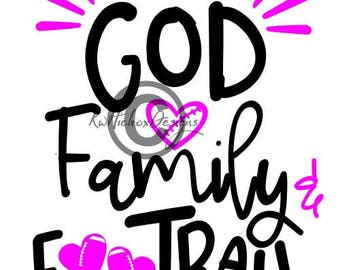 Football Svg, God Svg, God Family Football Svg, Football Heart Svg, Football Dxf