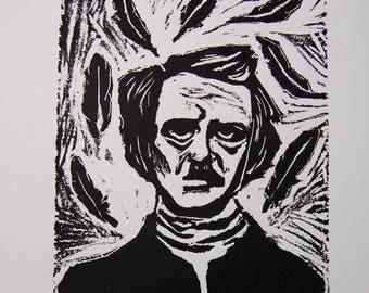 """Hand pulled linoleum print Edgar Allen Poe """"Nevermore"""""""