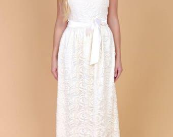 Champagne Lace Maxi Womens Dress Round Neckline Sleeveless