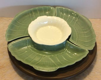 Vintage California Pottery USA 830 831 Olive Green and White Serving Platter, Lazy Susan Server, Retro Dining, Super Bowl Party Serving Tray