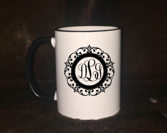 Monogrammed mug, personalized mug, custom mug, coffee lovers gift, gift for her, gift for him, co-worker, parent,