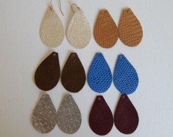 Small leather teardrop earrings, boho earrings, handmade jewelry, genuine leather, fall jewelry,