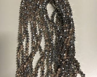 Single strand beaded pink/half silver plated