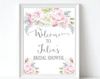 Floral Bridal Shower Welcome Sign - Pink & Gray Wedding Shower Welcome Sign - Bridal Shower Decor - Printable Sign