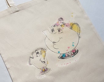 Beauty and the Beast tote bag. Mrs Potts and chip, Cogsworth or Lumiere available. Originally a hand drawn image with watercolour