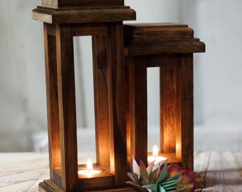 Reclaimed Wood Lanterns, Rustic Thanksgiving Decor, Rustic lantern, Wooden lantern, Thanksgiving Table, Rustic Home Decor, Wood Lantern