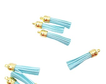 Tassels - 58mm Long Tassels - 10 Light Blue Tassels, Gold Cap - Tassels For Jewelry - Purse Tassels - Key Chain Tassel Pendants - TL-G089