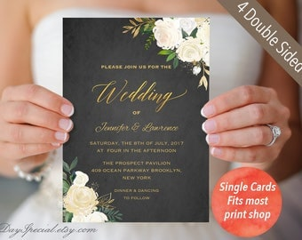 Set Of 4 Printable Double Sided Wedding Invitation Cards, Gold And Ivory  Floral Black Chalkboard