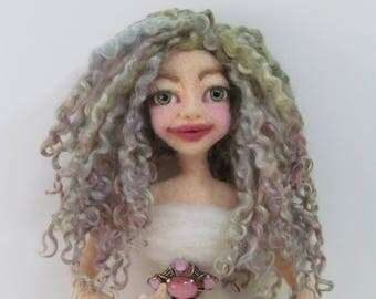 Doll Hair, Wensleydale Curly Locks, Hand Dyed/ Painted Locks, Sage Green with hints of mauve and soft blue, Listed for 1/2 oz