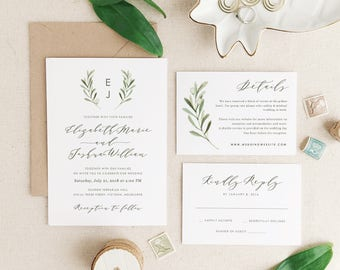 Greenery Wedding Invitation Template, Printable Wedding Invitation Suite, Olive Wedding, Calligraphy, Edit in Word or Pages