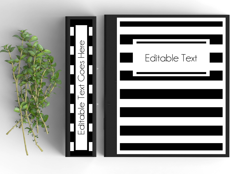 black and white stripe monogram binder cover