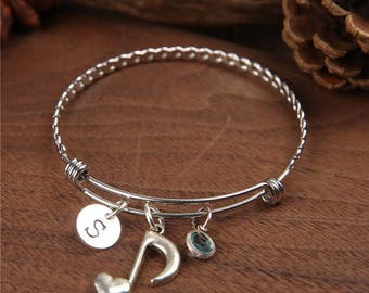 Music Note Bangle, Music Bracelet, Initial Charm, Personalized Bracelet, Musician Jewelry ,charm bangle, initial bracelet, Birthstone bangle