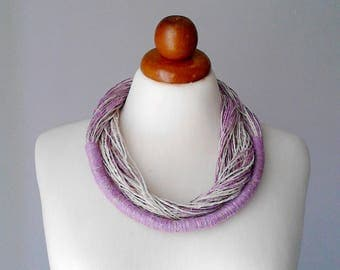 Multi strand necklace statement necklace linen necklace purple necklace lilac necklace bib necklace multistrand necklace  gift for women