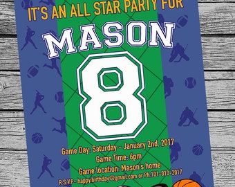 SPORTS Birthday party invite, printable invitation customized