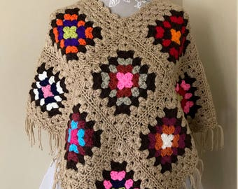 Girls Crochet Poncho Med Large XL Colorful Granny Squares - Handmade Crochet - Item 307