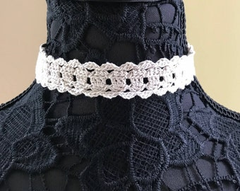 Cream Lace Choker or Headband - Handmade Crochet - No Metal - Item N102